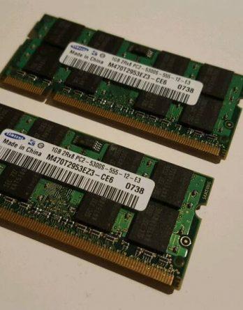 2GB RAM Arbeitsspeicher für Laptop 2×1GB PC2 5300S Samsung