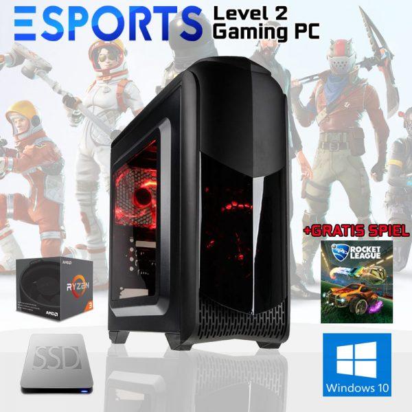 Level 2 eSPORTS Gaming PC (Ryzen 3 2200G, 8GB, Vega 8, SSD)