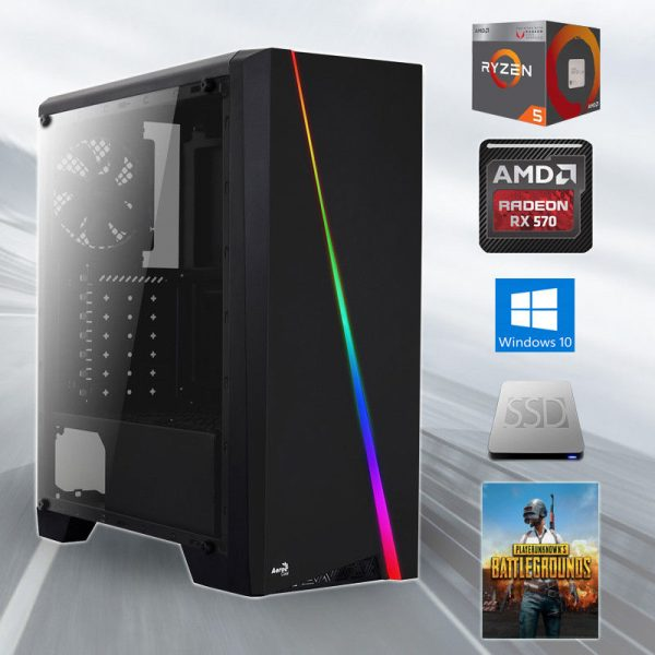 Gamer PC RGB Hexa-Core WN06 (Ryzen 5 1600 6x3.60GHz, 8GB DDR4, RX 570 4GB, 240GB SSD)